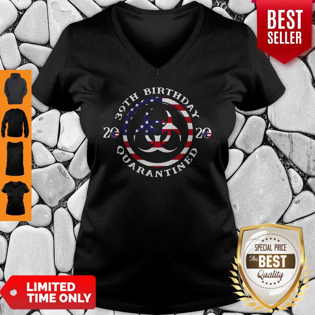 39th Birthday 2020 Quarantined American Flag V-neck
