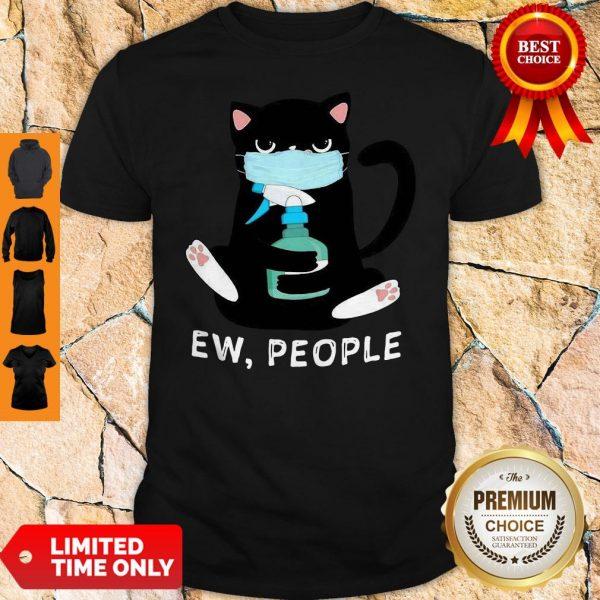 Black Cat Face Mask Ew People Shirt