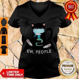 Black Cat Face Mask Ew People V-neck