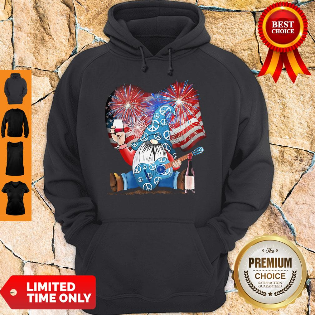 Santa Wine Guitar American Flag Veteran Independence Day Hoodie