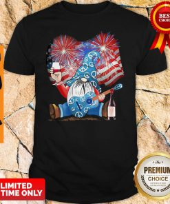 Santa Wine Guitar American Flag Veteran Independence Day Shirt