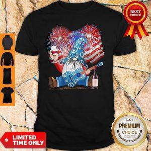 Santa Wine Guitar American Flag Veteran Independence Day Shirt
