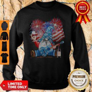 Santa Wine Guitar American Flag Veteran Independence Day Sweatshirt