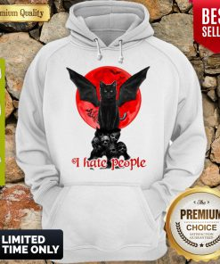 Skull Black Cat I Hate People Classic Hoodie