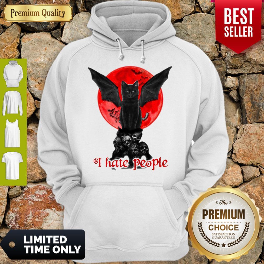 Skull Black Cat I Hate People Classic Hoodie