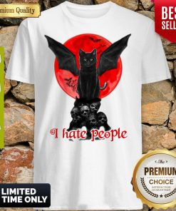 Skull Black Cat I Hate People Classic Shirt