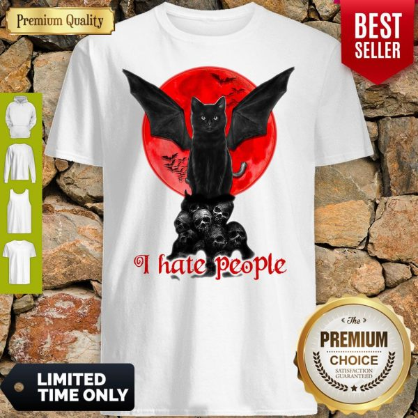 Skull Black Cat I Hate People Classic Shirt