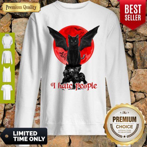 Skull Black Cat I Hate People Classic Sweatshirt