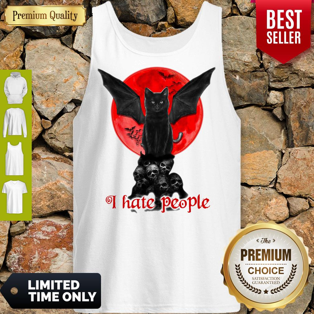 Skull Black Cat I Hate People Classic Tank Top