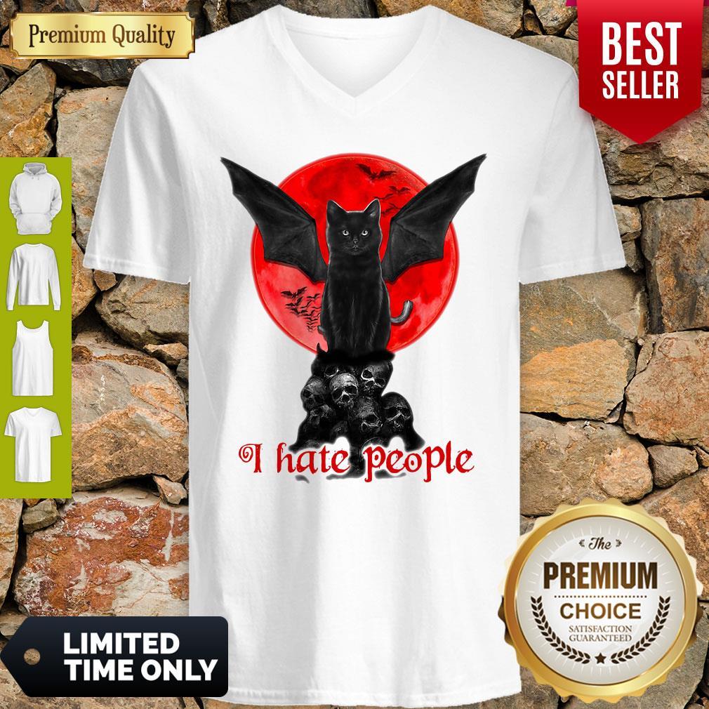 Skull Black Cat I Hate People Classic V-neck