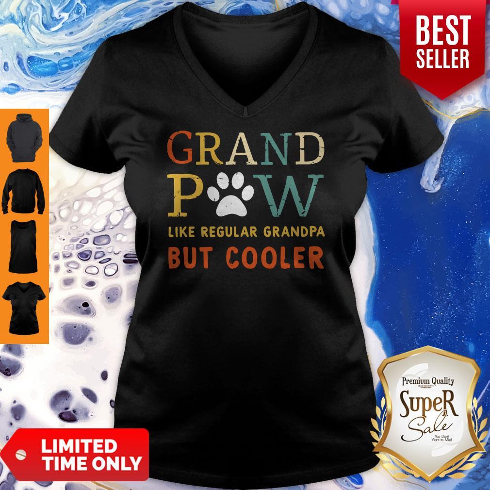 Grand Paw Like A Regular Grandpa But Cooler Dog Love Vintage V-neck