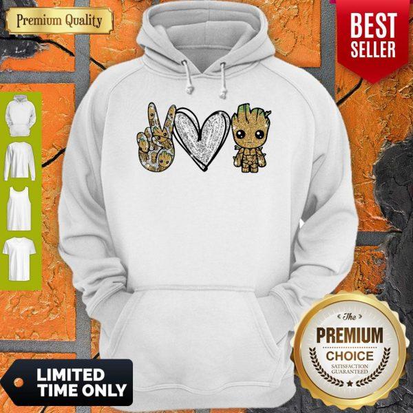 Official Peace Love Baby Groot Hoodie
