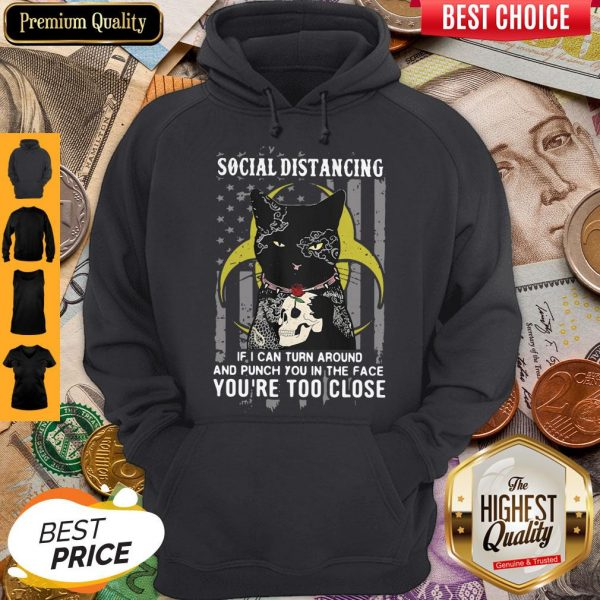 Independence Day Black Cat Hug Skull Rose Social Distancing If I Can Turn Around And Punch You In Hoodie