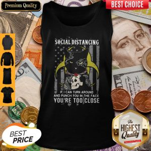 Independence Day Black Cat Hug Skull Rose Social Distancing If I Can Turn Around And Punch You In Tank Top