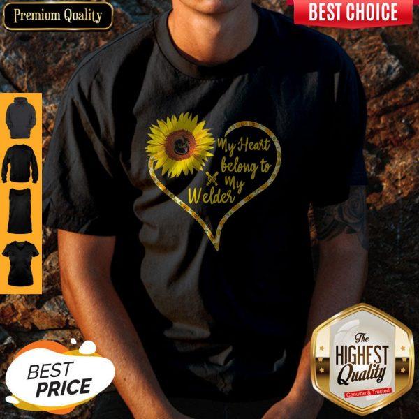 Nice Love Sunflower My Heart Belong To My Welder Heart Shirt
