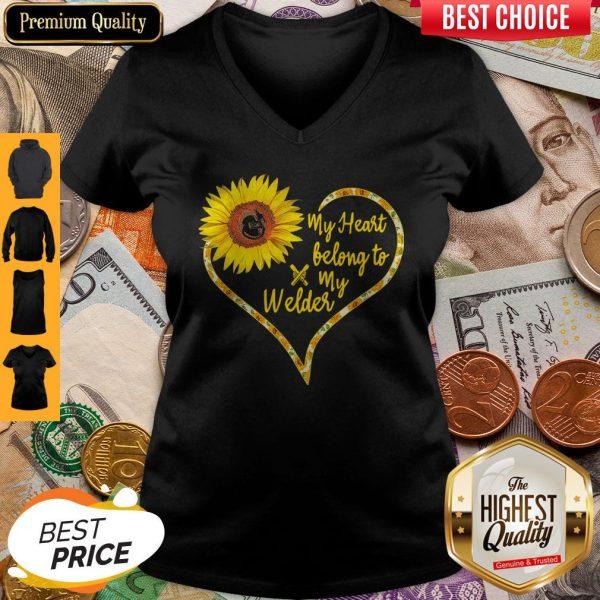 Nice Love Sunflower My Heart Belong To My Welder Heart V-neck