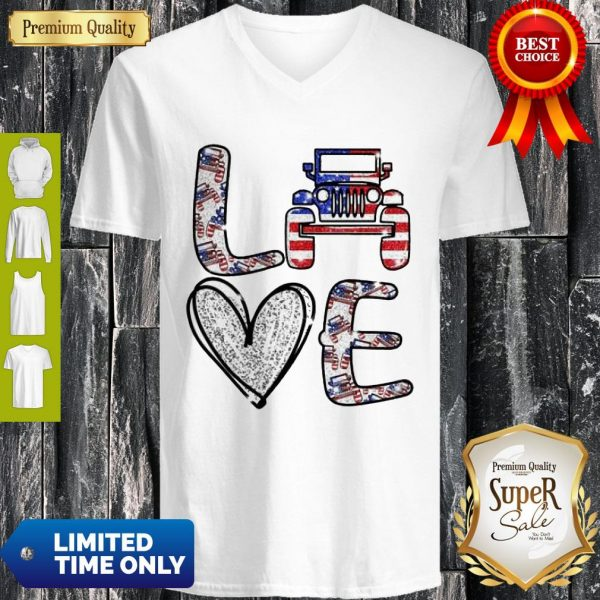 Official Love Jeep American Flag V-neck