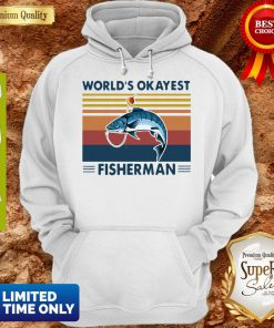 Official Worlds Okayest Fisherman Vintage Hoodie