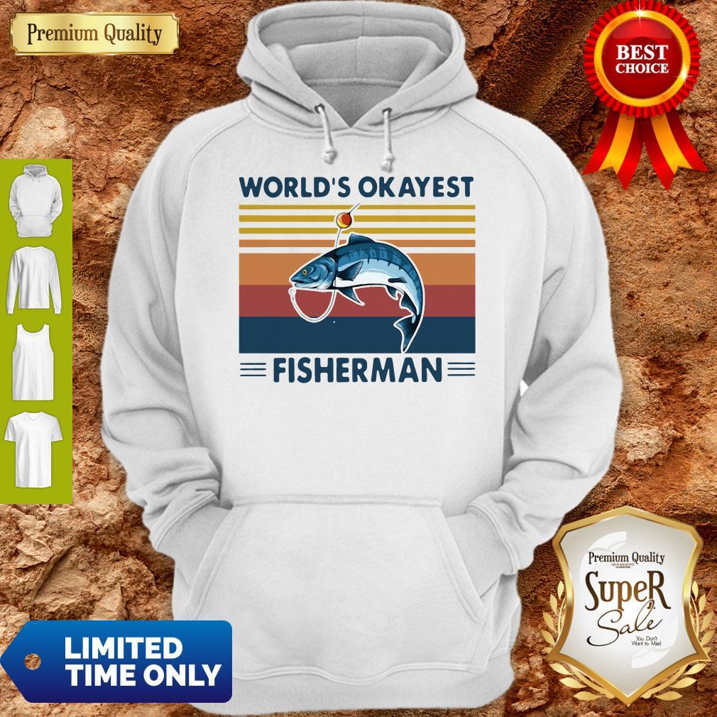 Official Worlds Okayest Fisherman Vintage Hoodie