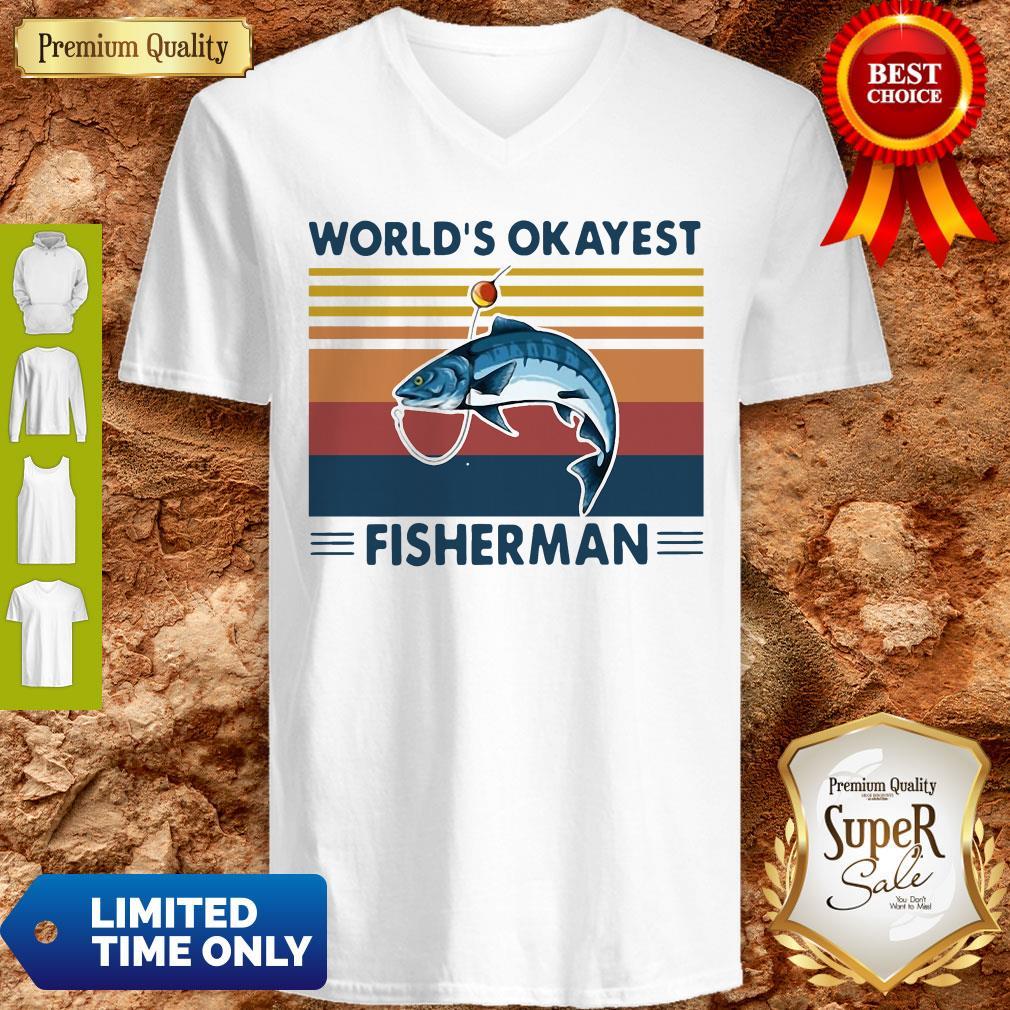 Official Worlds Okayest Fisherman Vintage V-neck