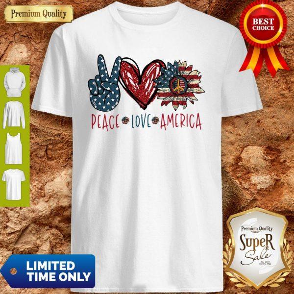 Peace Love Sunflower Cross American Flag Veteran Independence Day Shirt