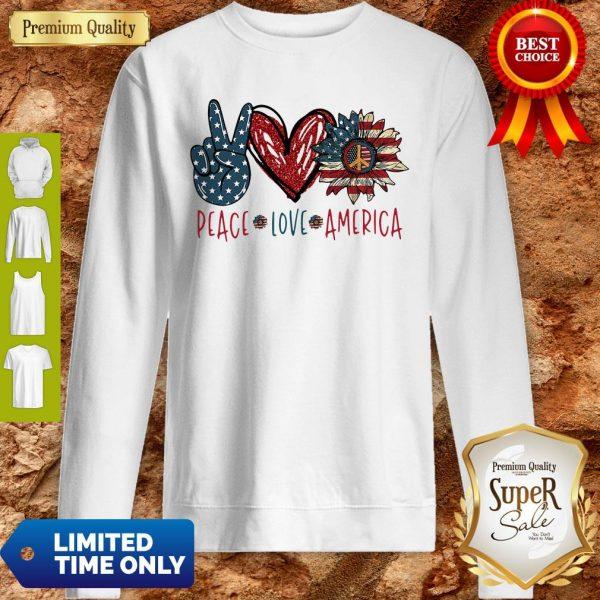 Peace Love Sunflower Cross American Flag Veteran Independence Day Sweatshirt