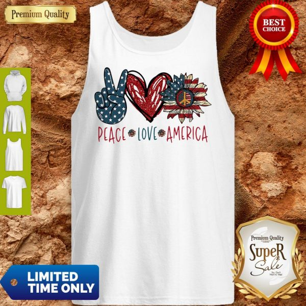 Peace Love Sunflower Cross American Flag Veteran Independence Day Tank Top