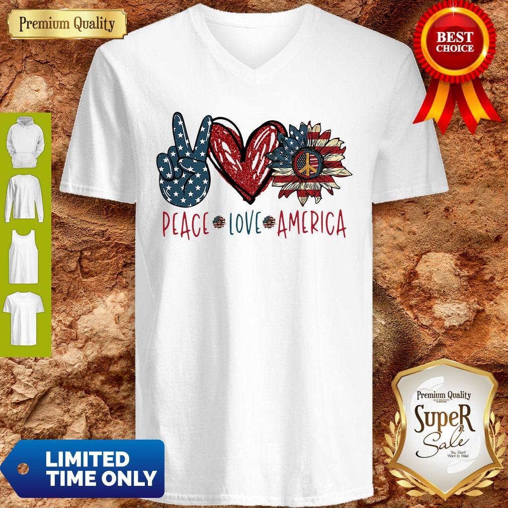 Peace Love Sunflower Cross American Flag Veteran Independence Day V-neck