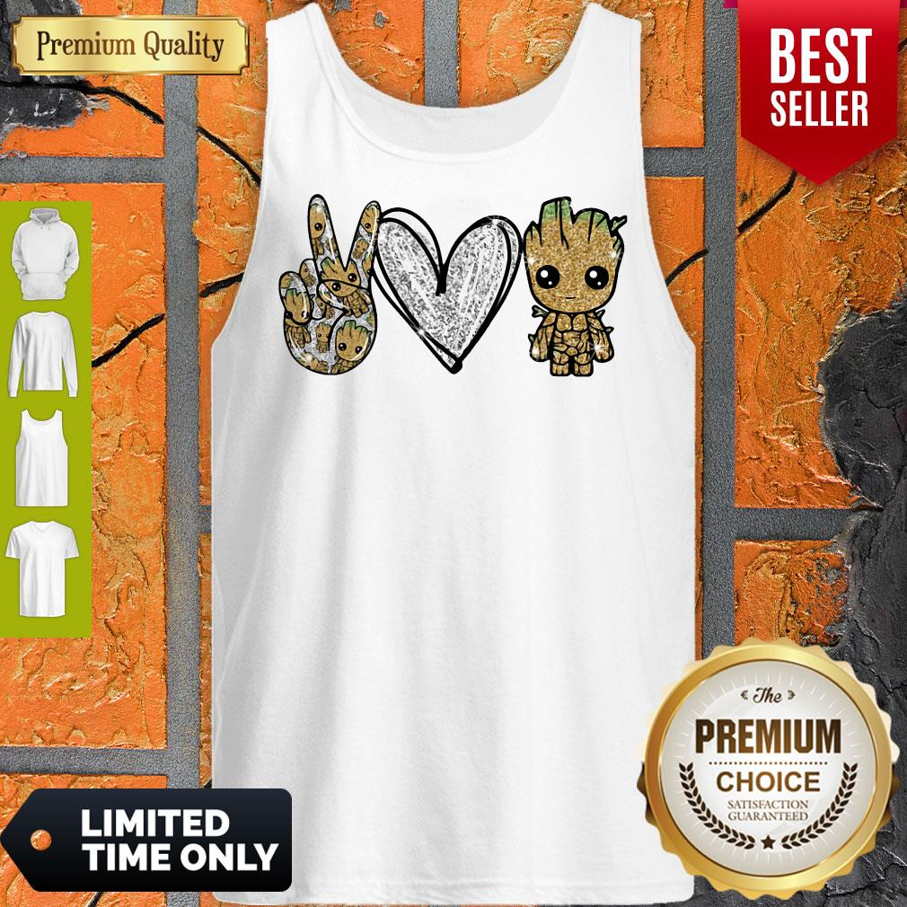 Official Peace Love Baby Groot Tank Top