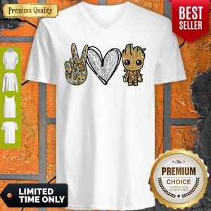 Official Peace Love Baby Groot V-neck