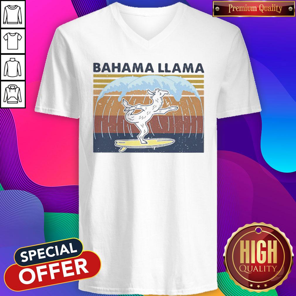 Bahama Llama Dancing Vintage V- neck