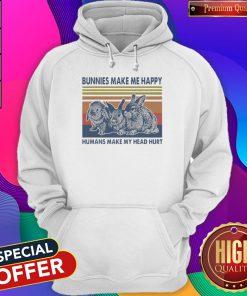 Bunnies Make Me Happy Humans Make My Head Hurt Vintage Hoodiea