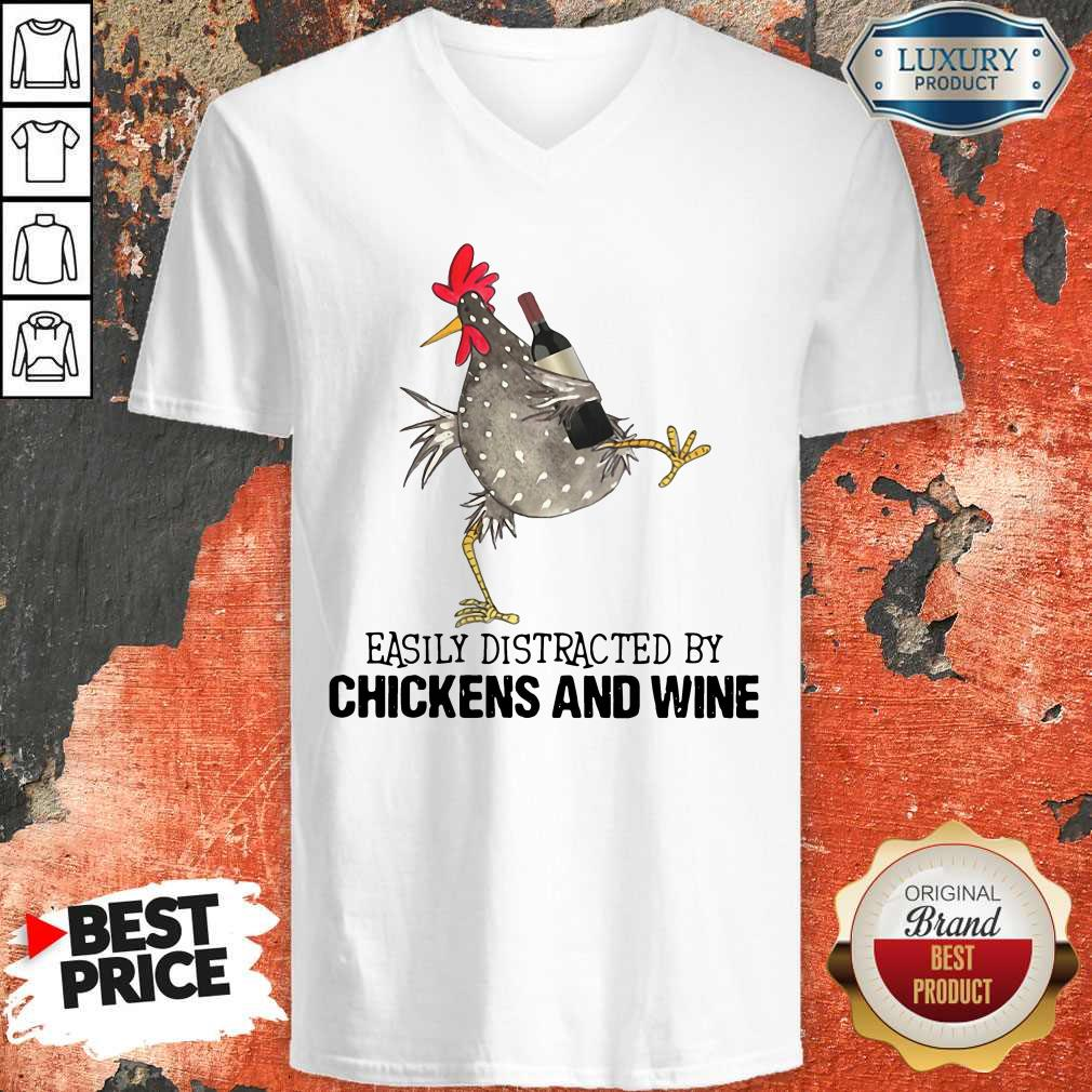 Easily Distracted By Cats And Chickens And Wine   V-neck