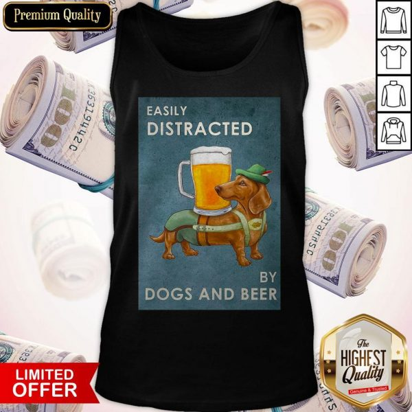 Easily Distracted By Dogs And Beer Tank Top