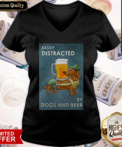 Easily Distracted By Dogs And Beer V- neck