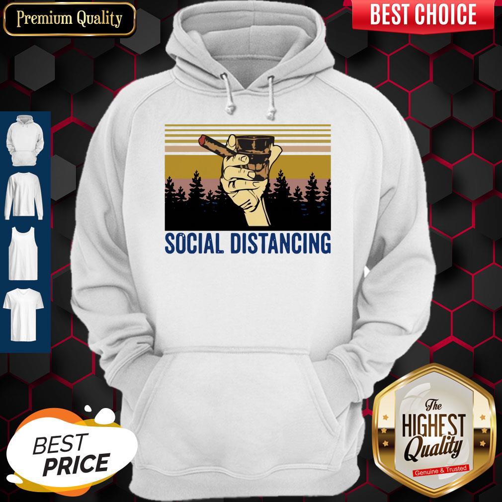 Cigar Social Distancing Vintage Hoodie