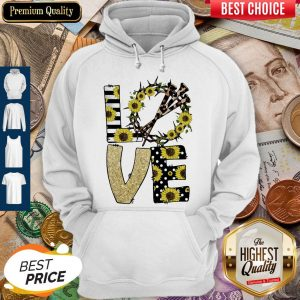 Nice Love God Sunflowers Leopard Diamond Hoodie