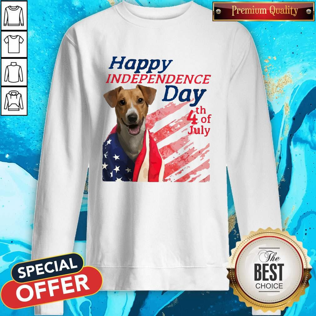 Jack Russell Terrier Happy Independence Day 4th Of July American Flag Sweatshirt
