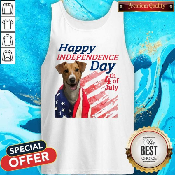 Jack Russell Terrier Happy Independence Day 4th Of July American Flag Tank Top