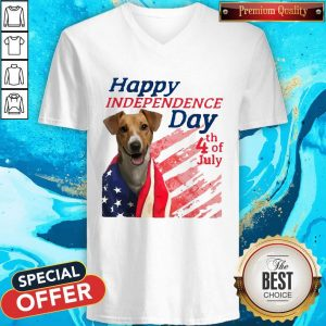 Jack Russell Terrier Happy Independence Day 4th Of July American Flag V- neck