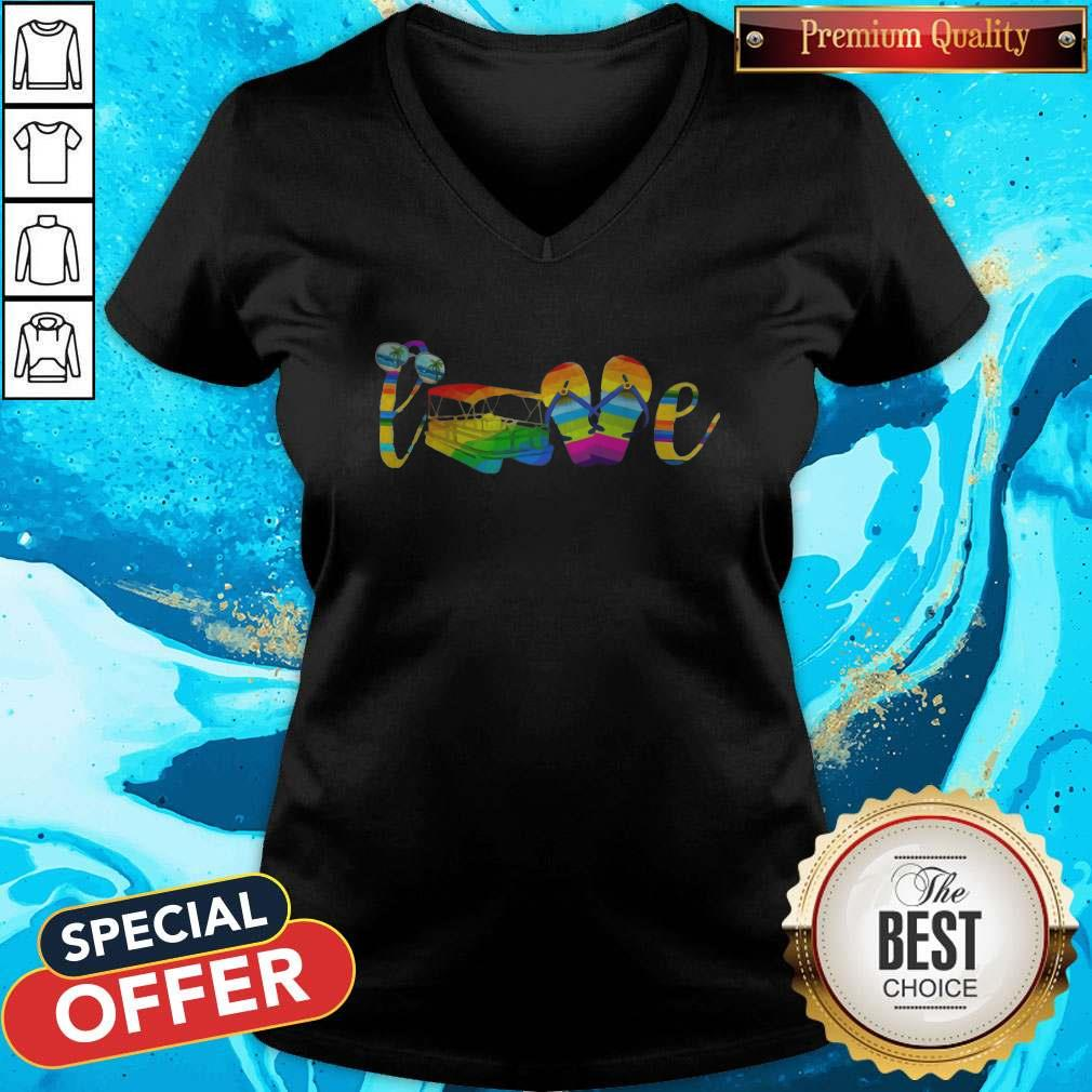 LGBT Love Sign Language Camping ShirtLGBT Love Sign Language Camping V- neck
