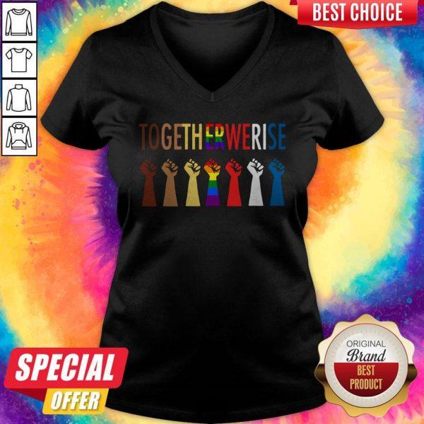 LGBT Strong Hand Together We Rise V- neck