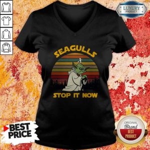 Master Yoda Seagulls Stop It Now Vintage V-neck