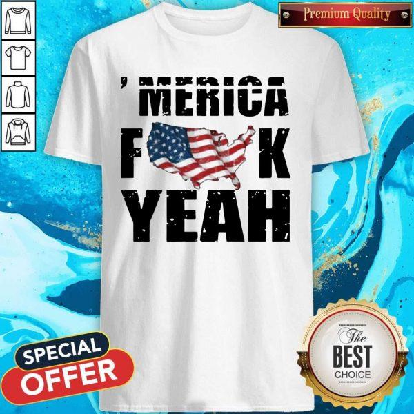 Merica Fuck Yeah American Map Flag Shirt