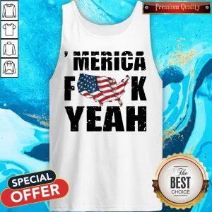 Merica Fuck Yeah American Map Flag Tank Top