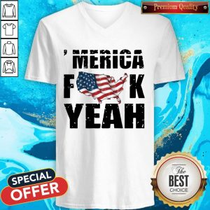 Merica Fuck Yeah American Map FlagV- neck