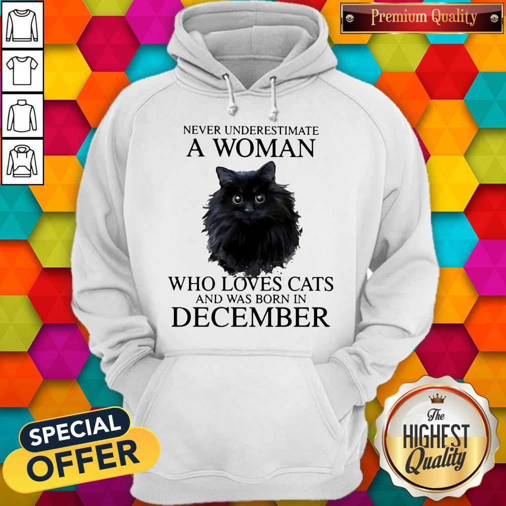 Never Underestimate A Woman Who Loves Cats And Was Born In December Hoodiea