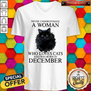 Never Underestimate A Woman Who Loves Cats And Was Born In December V- neck