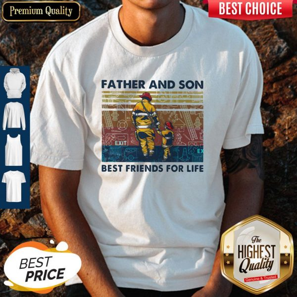 Firefighter Father and Son Best Friends For Life Vintage Retro shirt