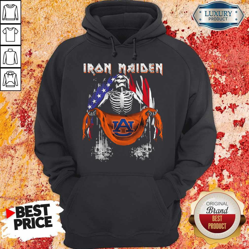 Skeleton Iron Maiden Auburn Logo American Flag Independence Day Hoodiea